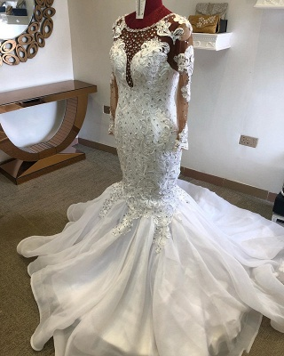Jewel Long Sleeve Crystal Lace Mermaid Fitted Wedding Dresses_2