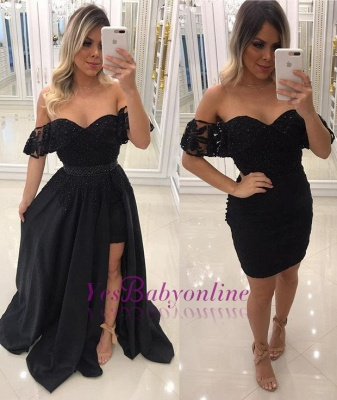 Beaded A-Line Black Prom-Dresses Chic Off-The-Shoulder Side-Slit Evening Dresses_1