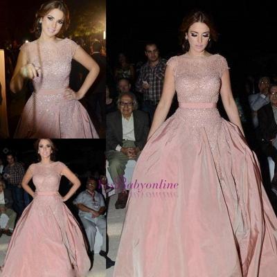 Diamonds Cap-Sleeve Charming Designer Pink Evening Dress_5