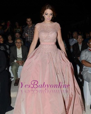 Diamonds Cap-Sleeve Charming Designer Pink Evening Dress_3