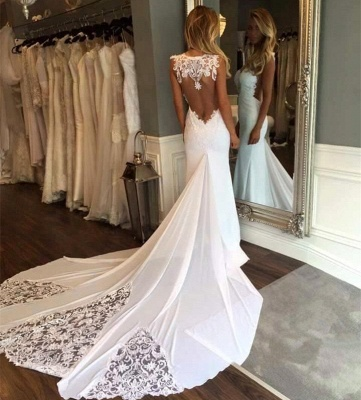 Glamorous Lace Appliques Backless Sleeveless Mermaid Wedding Dresses_3