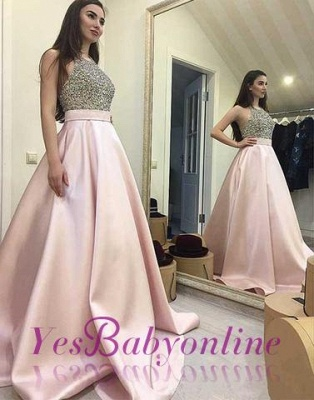 Beading Sweep-train Sequin Elegant Round-neck Pink A-line Prom Dress_3