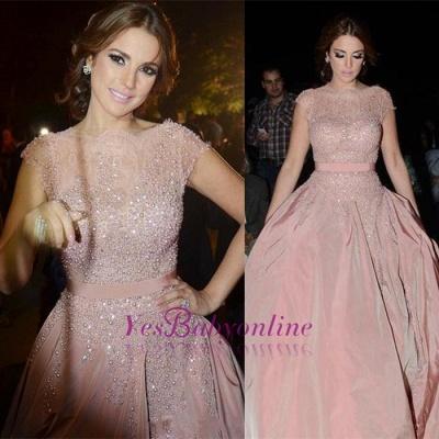Diamonds Cap-Sleeve Charming Designer Pink Evening Dress_1