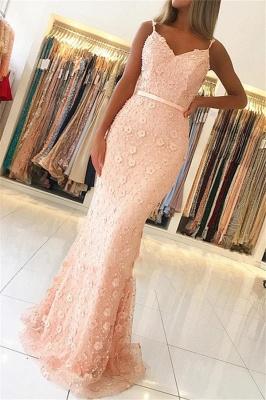 Elegant Pink Sheath Long Prom Dress | Spaghetti Straps Flowers Sleeveless Evening Dress BC2487_1