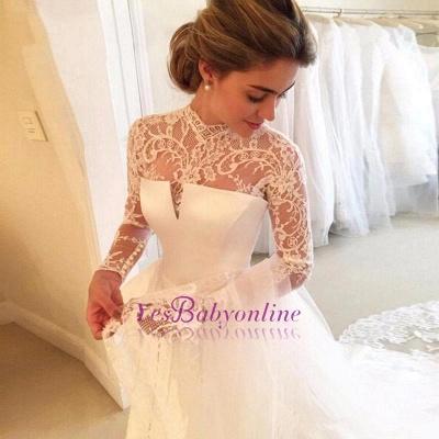 A-line Lace  High-Neck Zipper  Long Sleeves Glamorous Wedding Dress_1