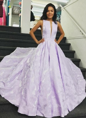 Stunning Sweep Train V-neck Lilac Open Back Prom Dresses | Graceful Evening Gown_1