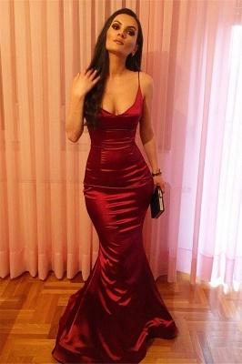 Burgundy Long Mermaid Prom Dresses | Spaghetti-straps V-neck Evening Gowns_1
