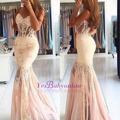 Appliques Long Lace Mermaid Sweetheart Stunning Prom Dress_1