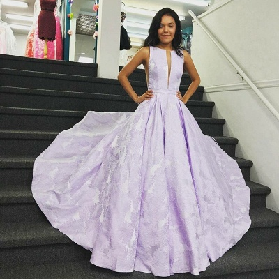 Stunning Sweep Train V-neck Lilac Open Back Prom Dresses | Graceful Evening Gown_3