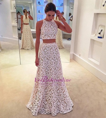 Two-Pieces A-line Simple Sleeveless White Lace Prom Dress_1