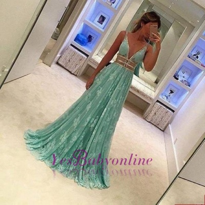 Mint-Green Deep-V-Neck Lace Sheer Elegant A-line Prom Dresses_1