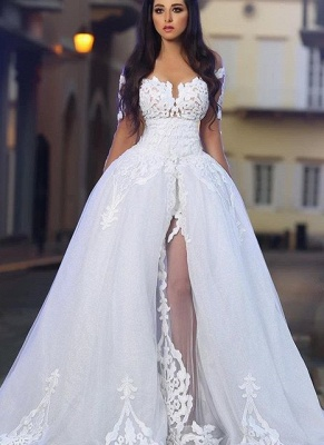 Princess Ball Gown Wedding Dresses | Glamorous White Appliques Bridal Gowns  with Overskirt_1