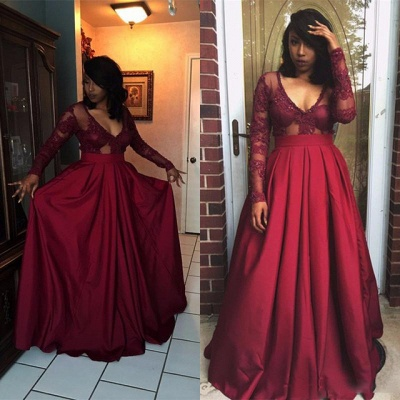 V-Neck Long-Sleeves Appliques Sexy Prom Dresses_3