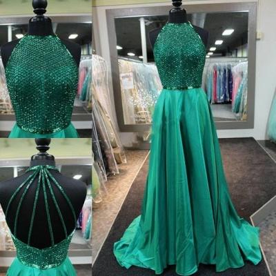 Amazing Dark Green Prom Dresses Long Halter Neck Net Design Top A-line Evening Gowns_3