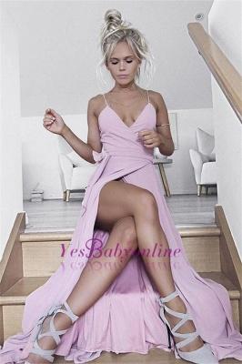 Front-Split Pink Spaghetti-Straps Sleeveless V-neck Evening Dress_1