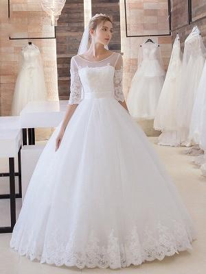 Glitter Lace Half-Sleeve Floor-Length Princess Lace-Up Wedding Dress_2