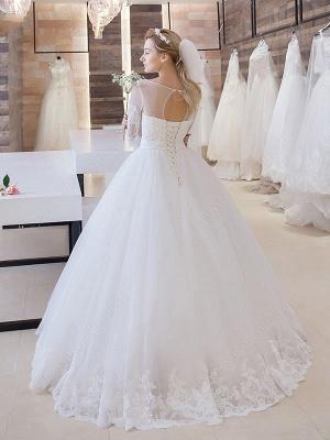 Glitter Lace Half-Sleeve Floor-Length Princess Lace-Up Wedding Dress_3