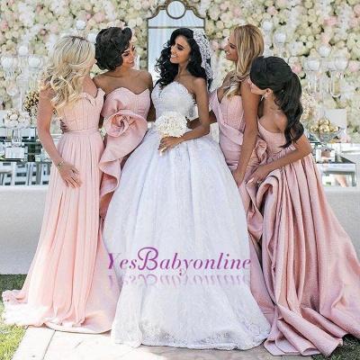 Long Bridemsiad Dresses Pink mermaid Taft_1