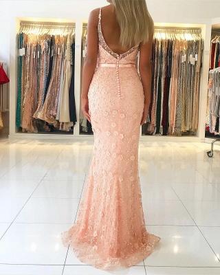 Elegant Pink Sheath Long Prom Dress | Spaghetti Straps Flowers Sleeveless Evening Dress BC2487_3