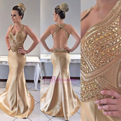 Mermaid Modern Crystals Straps Gold Prom Dress_1