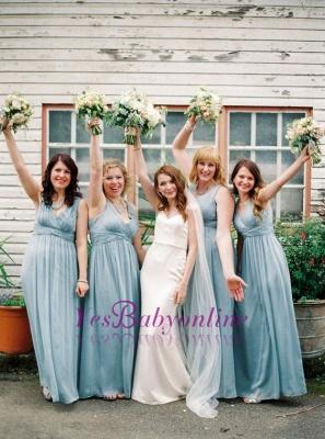 Chiffon Modern V-Neck Blue Wedding Long Party Bridesmaid Dresses_1