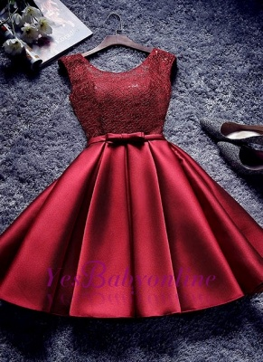 Bowknot-Sash A-line Lace-Up-Back Red Homecoming Dresses_1