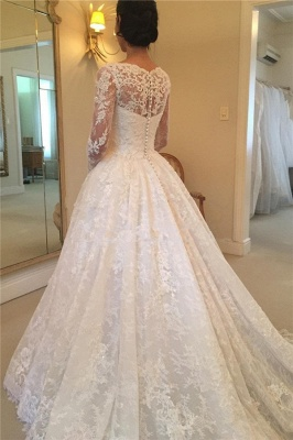 Glamorous  Puffy Buttons Court-Train Long Sleeves Squared Lace Wedding Dress_3