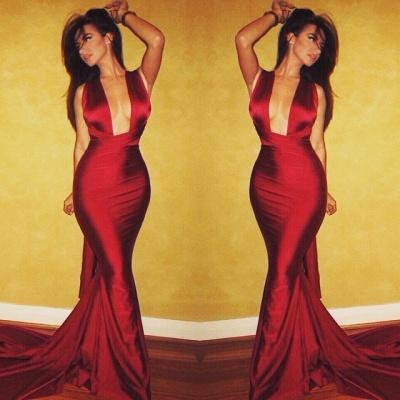 2019 Maroon Mermaid Evening Dress Deep-V-Neck Criss Cross Back Mermaid Prom Dresses_4