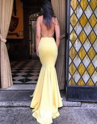 Simple Backless Mermaid Prom Dresses | Elegant Yellow Sleeveless Evening Dresses_4
