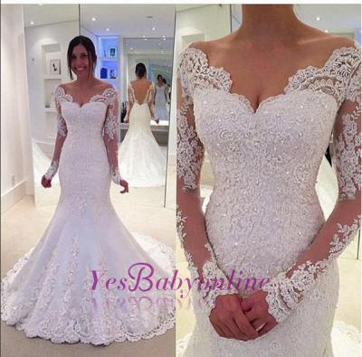 Glamorous Off-the-Shoulder Long Sleeves Lace Mermaid Wedding Dresses_1