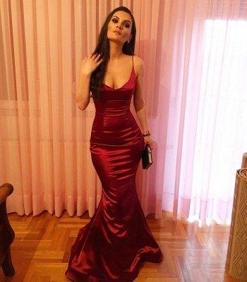 Burgundy Long Mermaid Prom Dresses | Spaghetti-straps V-neck Evening Gowns_3