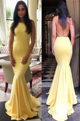 Simple Backless Mermaid Prom Dresses | Elegant Yellow Sleeveless Evening Dresses_1