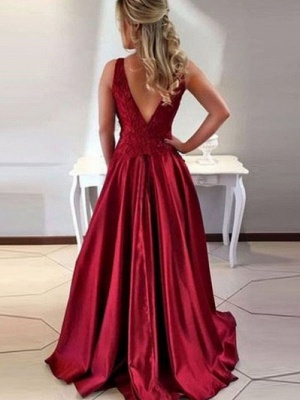 Vintage A-Line Burgundy Evening Dresses | Scoop Sleeveless Lace Appliques prom Dresses_3
