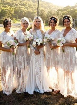 Elegant Lace Capped-Sleeves V-Neck Long Sheer Bridesmaid Dresses_3