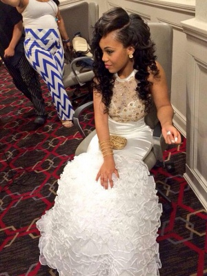 White Gold Mermaid Backless Prom Dresses Ruffles Beaded Rhinestones Evening Gowns_3