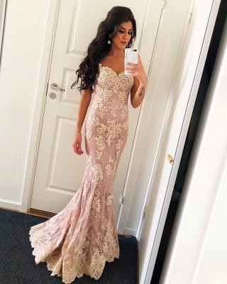 Elegant Pink Spaghetti Straps Lace Prom Dress | Open Back Mermaid Sexy Evening Dresses_1
