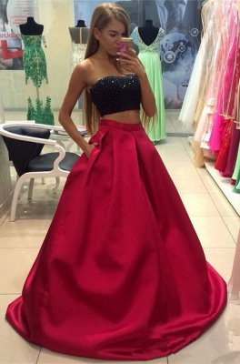 A-line Strapless Two-Piece Modest Sleeveless Prom Dress_2