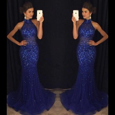 Halter Beaded Mermaid Prom Dresses | Elegant Sleeveless Long Evening Gowns_3
