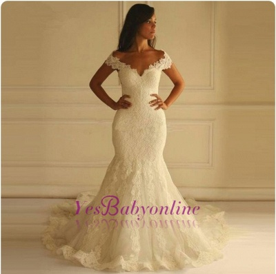 Glamorous Lace-Applique Off-The-Shoulder Mermaid Wedding Dresses_1