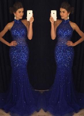 Halter Beaded Mermaid Prom Dresses | Elegant Sleeveless Long Evening Gowns_1