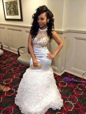 White Gold Mermaid Backless Prom Dresses Ruffles Beaded Rhinestones Evening Gowns_1