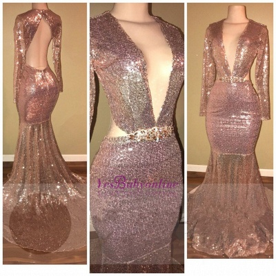 Mermaid Sequined Long-Sleeve V-neck Gorgeous Backless Prom Dress_1