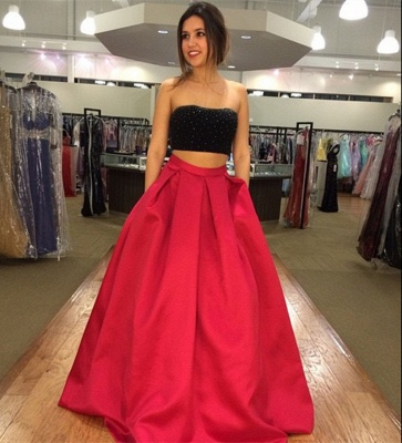 A-line Strapless Two-Piece Modest Sleeveless Prom Dress_3