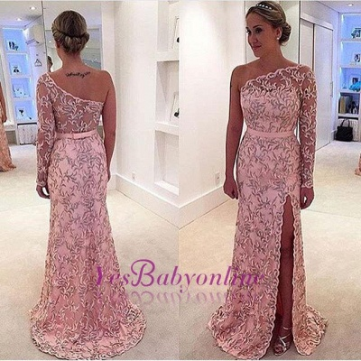 Pattern Long Long-Sleeve Pink One-Shoulder Leaf Prom Dress_1
