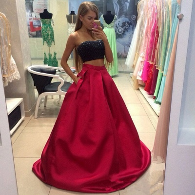 A-line Strapless Two-Piece Modest Sleeveless Prom Dress_4