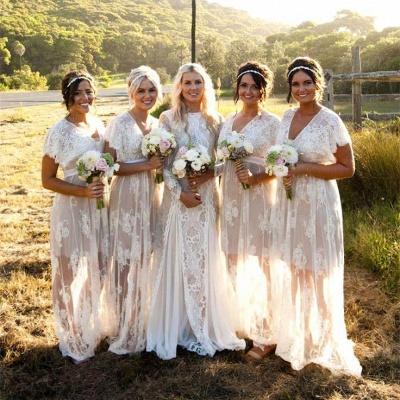 Elegant Lace Capped-Sleeves V-Neck Long Sheer Bridesmaid Dresses_4