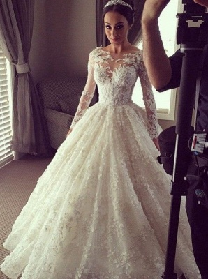 Charming Princess Ball Gown Wedding Dresses | 3D-Floral Appliques Long Sleeves Bridal Gowns_1