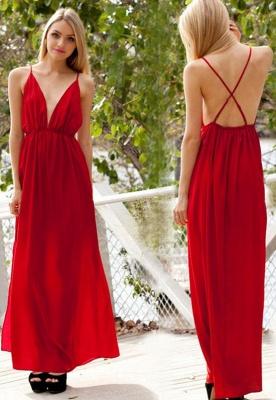 Spaghetti-Strap Sexy Backless A-line V-neck Sleeveless Evening Dress_2