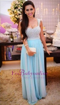 A-Line Beading Sleeveless Long Empire Crystal Prom Dresses_1