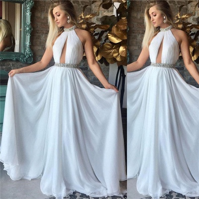 High Neck Sleeveless Chiffon Evening Dresses Cheap | Open Back Beads Sexy Prom Dresses 2019_3